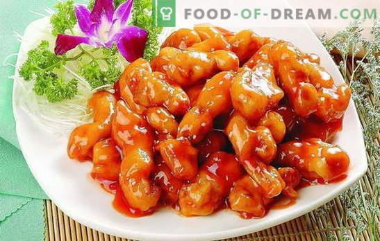 Geurig en sappig vlees in een zoete saus in het Chinees. Originele recepten voor verschillende soorten vlees in een zoete saus in het Chinees
