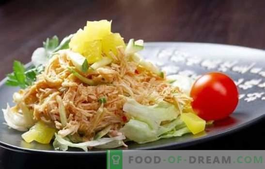 Gerookte kipsalade - iedereen kan heerlijk koken! Een selectie van verschillende salades met gerookte poten