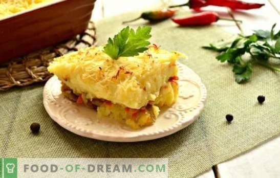 Braadpangehakt in de oven: een stapsgewijs recept voor een stevige maaltijd. Aardappelpuree, macaroni, champignonvulstoofschotels (stap voor stap recepten)