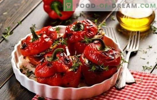 Bulgaarse paprika gevuld met aubergines - we fast! Hete peper gevuld met aubergines voor de winter