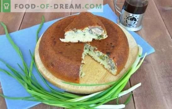 Open, gesloten en bulktaarten met uien en eieren in een slowcooker. Taart met uien en ei in een slowcooker - redding van honger!