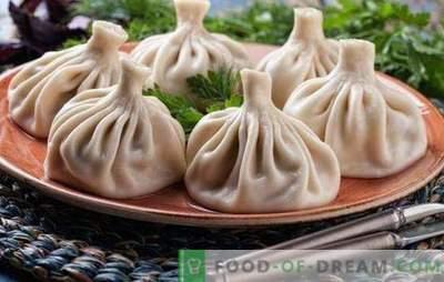 Gestoomde Khinkali - nieuwe recepten voor geweldige gerechten. Heerlijk gestoomde khinkali koken met vlees, champignons, groenten, zoete gevulde