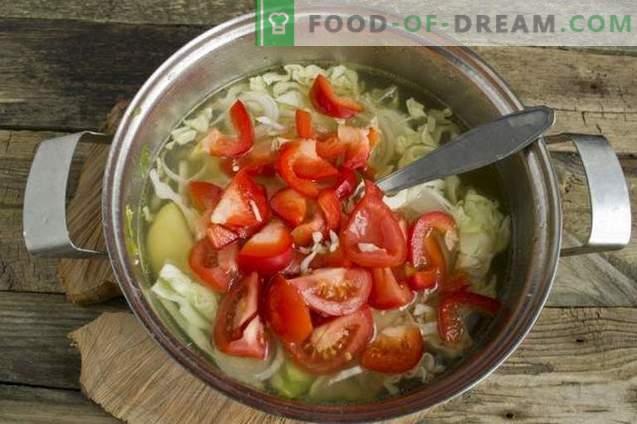 Soupe de légumes d'été dans un bouillon de poulet