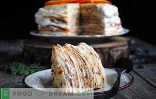 Pannenkoekentaart met custard - verschillende opties voor een delicaat dessert. De beste recepten voor pannenkoeken met custard