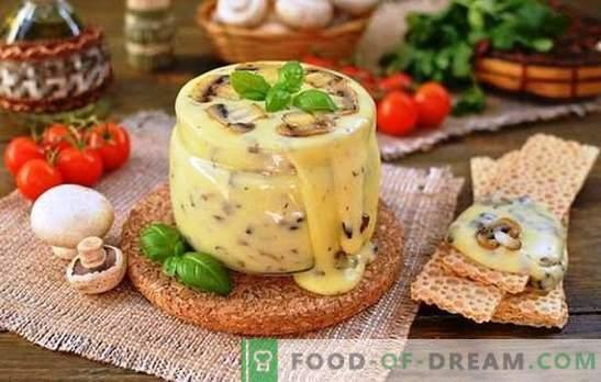 Zelfgemaakte gesmolten kaas van kwark wordt vakkundig bereid. Vakantie van smaak met cottage cheese kaas recepten thuis
