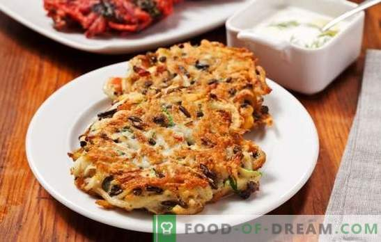Potato pancakes with mushrooms - unusual pancakes! Recipes of fragrant and ruddy pancakes with mushrooms