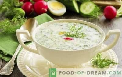 Okroshka op kleur - frisheid met zuurheid. Recepten voor een heerlijke koude soep: okroshka op een kleurtje met vlees, worst, zeevruchten