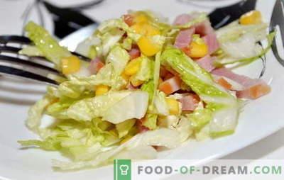 Salade met Pekingse kool en ham is een lichte snack. Recepten voor salades met Pekingse kool en ham: eenvoudig en gelaagd