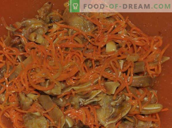 Koreaanse wortel, recepten thuis met kip, met klaar kruiden, voor de winter