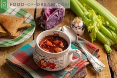 Gezonde vegetarische rode koolsoep