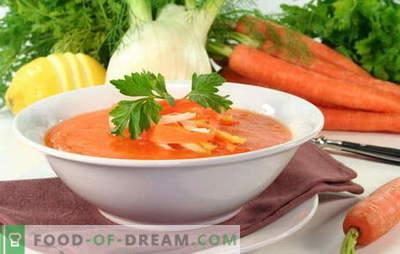 Wortelsoep - een zonnig gerecht op tafel. Hoe een heerlijke wortelsoep koken: recepten van zoete of zoute gerechten
