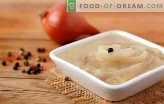 Uiensaus is ongewoon eenvoudig, onrealistisch smakelijk! Recepten van uiensauzen met witte en rode wijn, room, tomaat, zure room, bacon