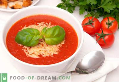 Tomatenroomsoep - bewezen recepten. Hoe tomatenpuree soep goed en lekker te koken.