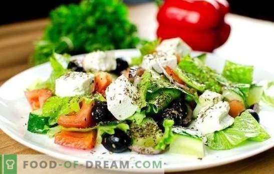 Griekse salade: klassieke stap-voor-stap recepten. Heerlijke, gezonde en verse Griekse salade koken volgens klassieke recepten