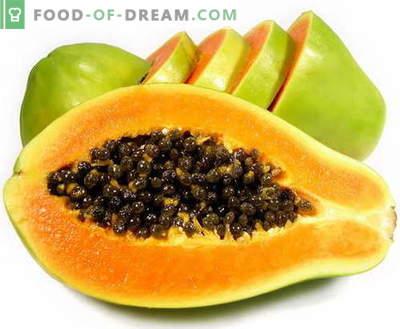 Papaya - beschrijving, nuttige eigenschappen, gebruik in de keuken. Recepten met papaja.
