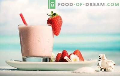 Voel het positieve van de dag - milkshake met aardbeien! Recepten milkshakes met aardbeien en chocolade, banaan, frambozen