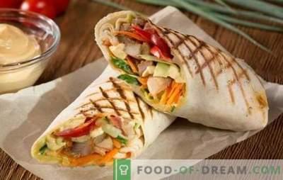 Shawarma de cerdo - comida rápida real! Recetas de shawarma casero con cerdo y verduras, champiñones, queso, pepinos
