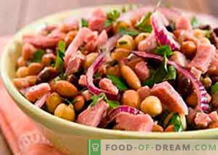 Salade met bonen en ham - de beste recepten. Hoe goed en smakelijk een salade van bonen met ham te koken.