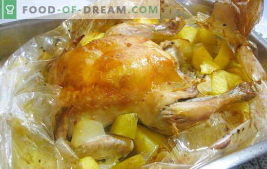 Een kip in een hoes met aardappelen in de oven is supereenvoudig! Recepten kip in de hoes met aardappelen in de oven hele en plakjes