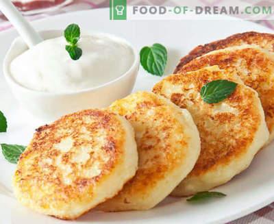Cheesecakes van kwark - klassiek, met griesmeel, weelderig, in de oven - de beste recepten. Hoe ze te koken