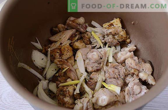 Kipstoofpot met champignons: voedzaam en geurig! Stapsgewijs recept van de auteur voor het snel koken van kip met champignons in een slowcooker