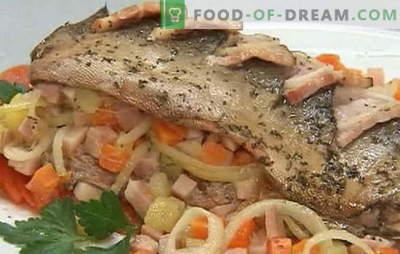 Een aantal recepten van roze zalm met wortels en uien: gestoofd, gebakken. Roze zalm met wortels en uien in de oven en in de pan