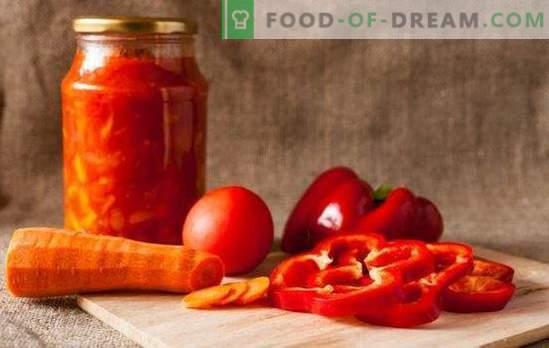 Het zal de kou verwarmen en een vonk toevoegen: adjika van tomaten en paprika's voor de winter. Traditionele en ongebruikelijke recepten van tomaten en paprika's voor de winter