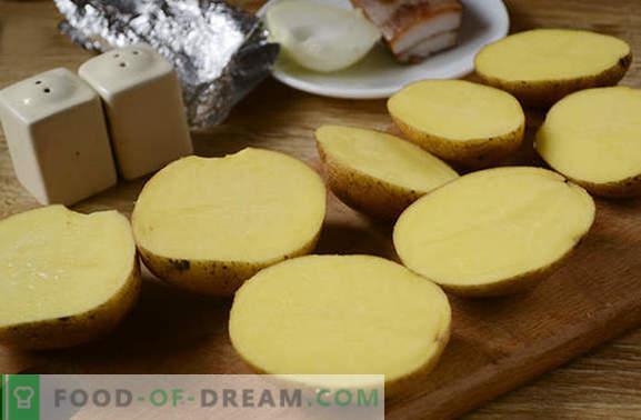 Cartofi cu slănină în cuptor în folie - un gust din copilărie! Reteta fotografica detaliata pentru cartofi de gatit cu bacon copt in folie
