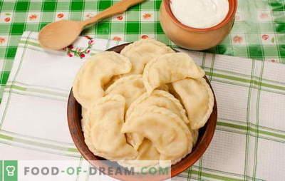 Dumplings met aardappelen en reuzel is een echte Oekraïense vreugde. Geheime recepten voor het koken van dumplings met aardappelen en bacon