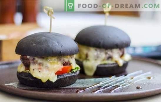 Zwarte broodjes - de echte trend van dit seizoen! Recepten van zwarte broodjes voor hamburgers op melk, water, yoghurt met gist en rippers