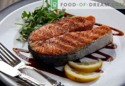 Zalm steak - de beste recepten. Hoe goed en smakelijk zalmfilet bereiden.