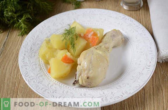 Cómo guisar patatas con pollo en una olla de cocción lenta: ¡una gran cena en media hora! Receta fotográfica paso a paso de guiso de pollo con papas en una olla de cocción lenta