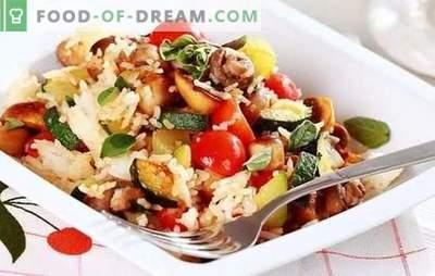 Risotto met groenten - traditionele Europese keuken. Luxe risotto met groenten: klassiek, champignon en voedingspatroon