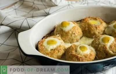 Nesten gehakt vlees met ei in de oven - een alternatief voor gehaktballen. Recepten van gehakt vlees met eieren in de oven met verschillende vullingen