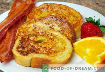 Toast met ei - de beste recepten. Hoe goed en smakelijk croutons koken met eieren.
