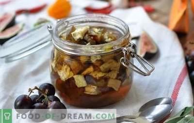 Aubergine jam - dessert met een verrassing! Recepten eenvoudige en Armeense aubergine confituur, met soda en zonder