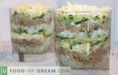 Kabeljauwlever salade met rijst - kookopties voor een gezonde snack. Recepten voor kabeljauwlever salade met rijst: eenvoudig en gepuft