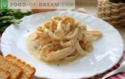 Pijlinktvissen in een romige saus - de zachtste combinatie! Recepten sappige calamares in een romige saus met kaas, champignons, wijn, olijven, tomaten