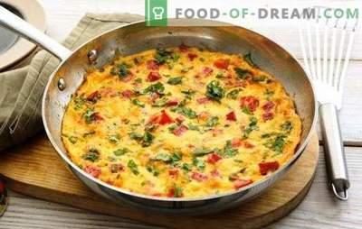 Omelet met ham - een stevig, smakelijk ontbijt met haast. De beste recepten voor omelet met ham, kaas, groenten, kruiden