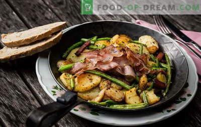 Aardappelen met vlees in de pan - een traditie! De beste recepten van gebakken aardappelen met vlees in een pan: met gehakt, zure room, groenten