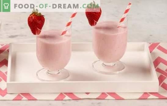 Strawberry smoothies - wat een heerlijk drankje! Hoe aardbeien smoothies te maken met room, munt, banaan, honing, ijs?
