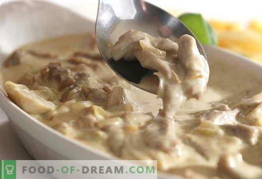 Гъби със заквасена сметана - най-добрите рецепти. Как да правилно и вкусно готви гъби със заквасена сметана.