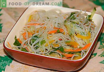 Funchoza met groenten - de beste recepten. Hoe je goed en lekker kunt koken, funchoza met groenten thuis.