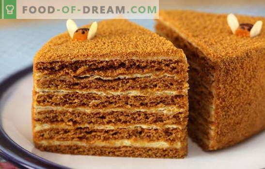 Honingtaart met banketbakkersroom - mals! Eenvoudig en complex, met gecondenseerde melk en zure room: honingskoekjesrecepten met custard