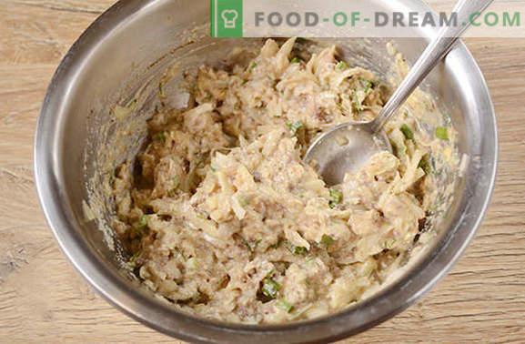 Ingeblikte vischotels: een gerecht met haast, verrassend en met een voortreffelijke smaak. Het stapsgewijze foto-recept van ingeblikte viskoteletten