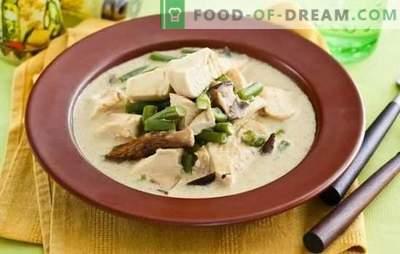 Fricassee in een romige saus is een eenvoudige schotel van de Franse keuken. Kookmogelijkheden voor fricassee in een romige saus met champignons, groenten en kaas