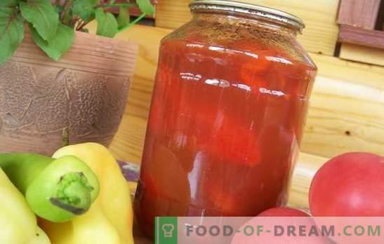 Tomaten- en pepersalade voor de winter: elke huisvrouw heeft zijn eigen recept! Veel soorten tomaten- en pepersalade voor de winter