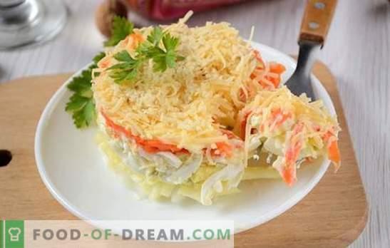 Franse salade met wortels: geportioneerd, mooi en smakelijk. Het fotorecept van de auteur van een stapsgewijze kooksalade in het Frans met wortels, eieren, appels en noten