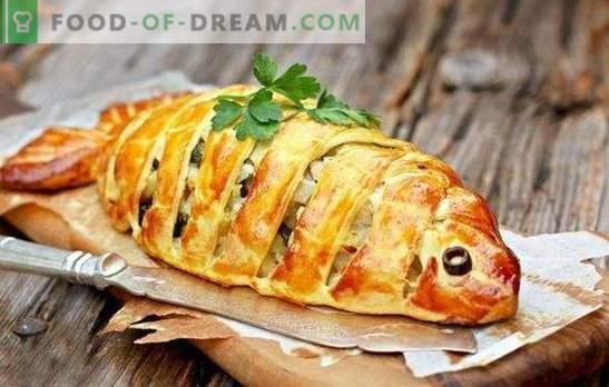Snelle vispastei - een vondst voor drukke huisvrouwen! Koken van snelle viskoekjes op kefir, mayonaise, zure room, bladerdeeg
