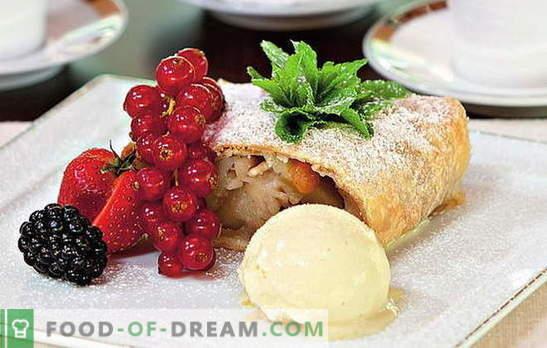 Strudel met appels uit bladerdeeg - schitterende gebakjes! Spullenopties en strudelrecepten met bladerdeegappelen